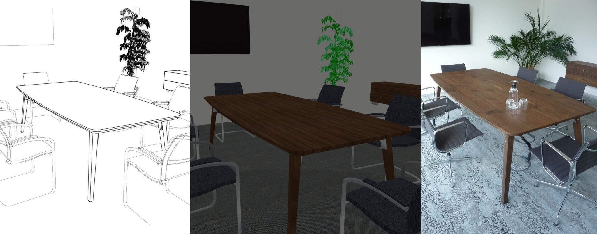 Skizze, Darstellung für den Kunden, gefertigter Tisch
